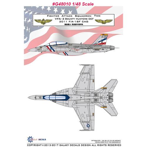 GALAXY G48010 G72015 1/48 1/72 Scale F/A-18F VFA-2 Bounty Hunters OEF CAG 2011 Decal