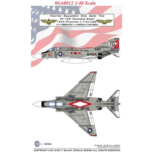 GALAXY Model G48012 G72012 1/48 1/72 Scale F-4J VF-102 Diamond Back 1973 Decal for Academy Model