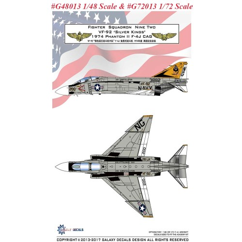 GALAXY Model G48013 G72013 1/48 /172 Scale F-4J VF-92 Silver Kings 1974 Decal for Academy Model