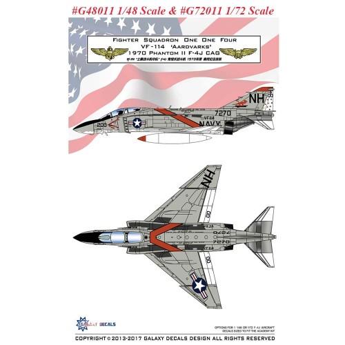 GALAXY Model G48011 G72011 1/48 1/72 Scale F-4J VF-114 Aardvarks 1970 Decal for Academy Model