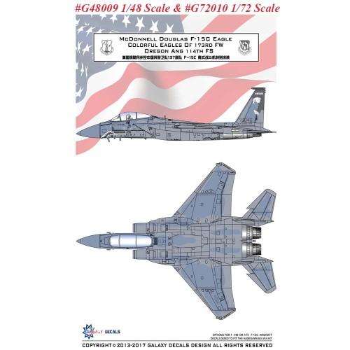 GALAXY G48009 G72010 1/48 1/72 Scale F-15C Eagles 173RD FW Oregon ANG 114TH FS Decal