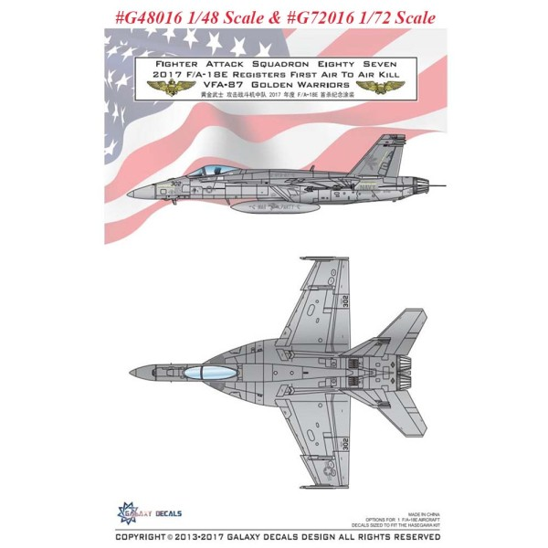 Galaxy G48016 G72016 1/48 1/72 Scale F/A-18E VFA-87 Golden Warrior 2017 First Air To Air Decal for Hasegawa Model