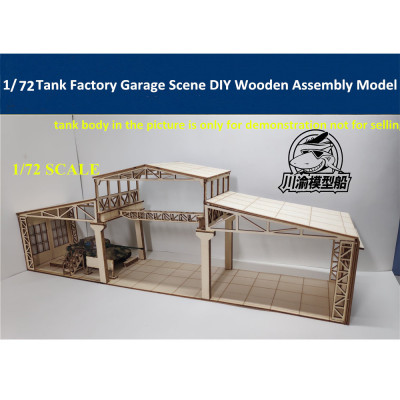 1/72 Scale Tank Factory Garage Repair Shop Scene DIY Wooden Assembly Model Kit CY712