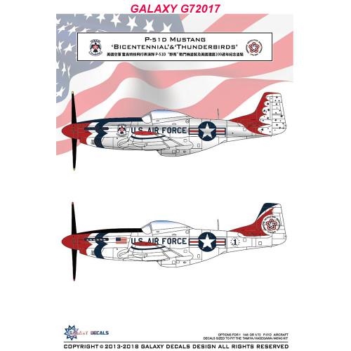 GALAXY G72017 1/72 Scale P-51D Mustang Bicentennial & Thunderbirds Decal