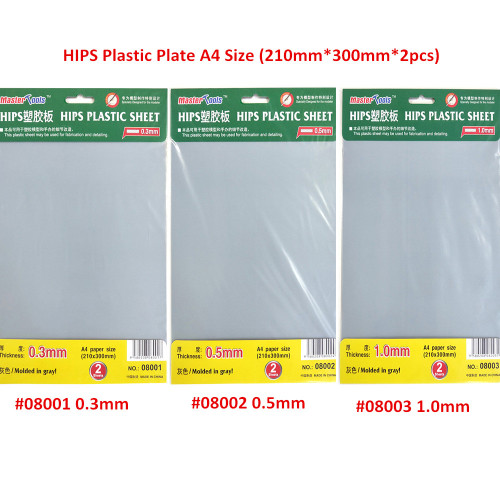 Trumpeter 08001 08002 08003 0.3mm/0.5mm/1.0mm HIPS Plastic Plate A4 Size Tools
