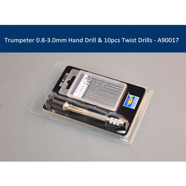 Trumpeter A90017 0.8-3.0mm Hand Drill & 10pcs Twist Drill Bits Rotary Tools