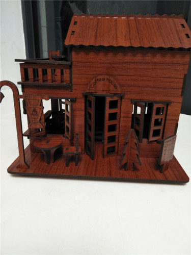 Wooden Jigsaw Puzzle Coffee House with Music Assembly Model DIY Christmas Xmas Children Brithday Gift