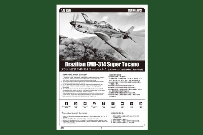 HobbyBoss 81727 1/48 Scale Brazilian EMB-314 Super Tucano Military Plastic Aircraft Assembly Model Kit