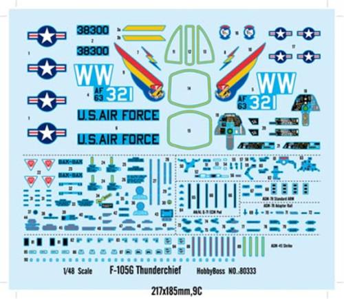 HobbyBoss 80333 1/48 Scale F-105G Thunderchief Fighter Military Plastic Assembly Model Kit