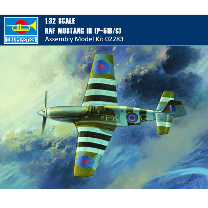 Trumpeter 02283 1/32 Scale RAF Mustang III P-51B/C Fighter Military Plastic Assembly Aircraft Model Kit