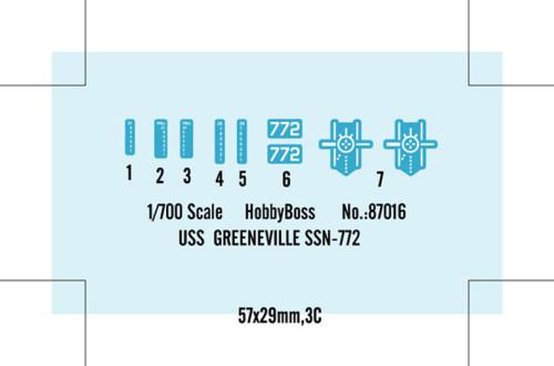 HobbyBoss 87016 1/700 Scale USS Greeneville SSN-772 Attack Submarine Military Plastic Assembly Model Kit