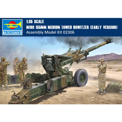 Trumpeter 02306 1/35 Scale M198 155mm Medium Towed Howitzer Early Version Military Plastic Assembly Model Kit