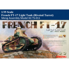 Meng TS-011 1/35 Scale French FT-17 Light Tank (Riveted Turret) with Diorama Base Military Plastic Assembly Model Kit