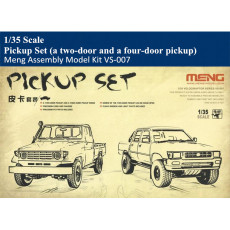 Meng VS-007 1/35 Scale Pickup Set (a two-door pickup and a four-door pickup) Plastic Truck Vehicle Assembly Model Kit