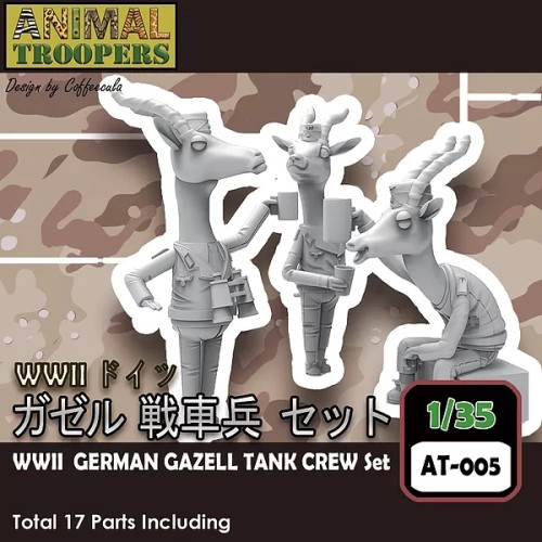 Korea ZLPLA Genuine 1/35 Scale Resin Figure Animal Troopers WWII German Tank Gazell Crew Set Q Editon Assembly Model AT-005
