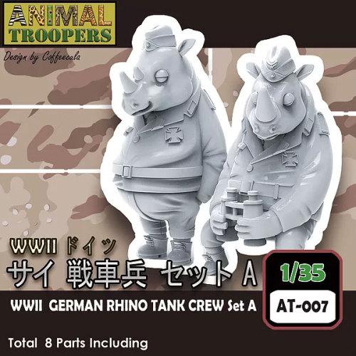Korea ZLPLA Genuine 1/35 Scale Resin Figure Animal Troopers WWII German Rhino Tank Crew Set A Resin Q Editon Assembly Model AT-007