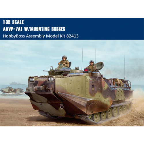 HobbyBoss 82413 1/35 Scale AAVP-7A1 w/mounting bosses w/Full Interior Military Plastic Assembly Model Building Kit