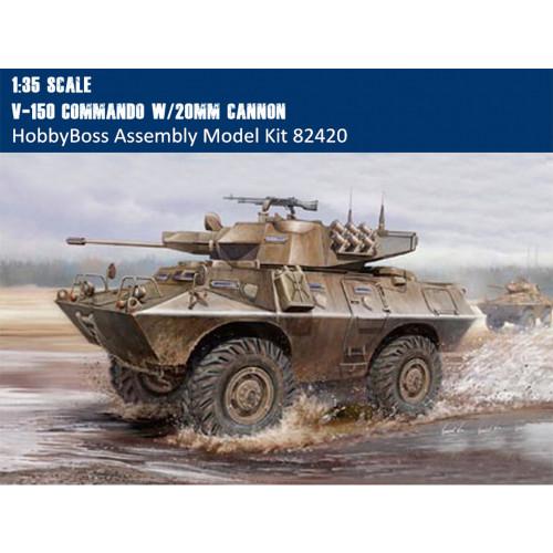 HobbyBoss 82420 1/35 Scale US V-150 Commando w/20mm Cannon Military Platic Assembly Model Kit