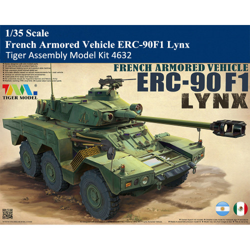 Tiger Model 4632 1/35 Scale French Armored Vehicle ERC-90F1 Lynx Military Plastic Assembly Model Kit