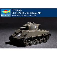 Trumpeter 07168 1/72 Scale US M4A3E8 with 105mm M4 Tank Military Assembly Model Kit