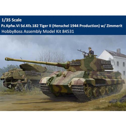 HobbyBoss 84531 1/35 Scale Sd.Kfz.182 Tiger II Henschel 1944 w/ Zimmerit Tank Plastic Assembly Model Kit