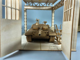 1/35 Scale Tank Factory Garage Repair Shop Scene DIY Wooden Assembly Model New Version
