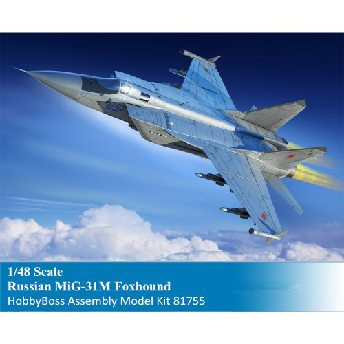 HobbyBoss 81755 1/48 Scale Russian MiG-31M Foxhound Military Plastic Aircraft Assembly Model Kit
