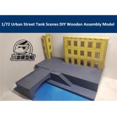1/72 Scale European Urban Street Tank Battle Scenes DIY Wooden Assembly Model CY715