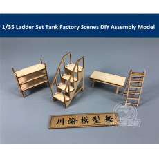 1/35 Scale Ladder Set Tank Factory Garage Repair Shop Scenes DIY Wooden Assembly Model CY734