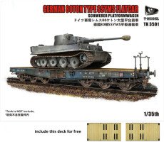 T-Model TK3501-I 1/35 Scale WWII German 80ton SSYMS Flatcar & Deck Plastic Assembly Model Kits