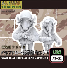 Korea ZLPLA Genuine 1/35 Scale Animal Troopers WWII US Buffalo Tank Crew Set A Q Editon Resin Assembly Model AT-012
