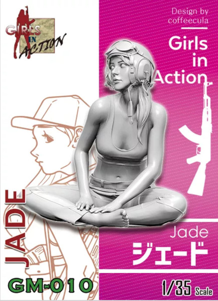 ZLPLA Genuine 1/35 Scale Jade Girls in Action Resin Figure Assembly Model Kit GM-010