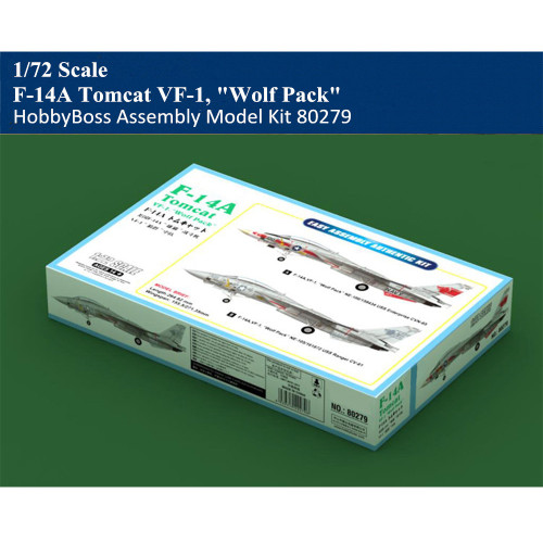 HobbyBoss 80279 1/72 Scale F-14A Tomcat VF-1 Wolf Pack Fighter Military Plastic Aircraft Assembly Model Kit