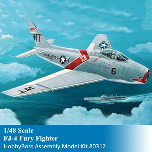 HobbyBoss 80312 1/48 Scale FJ-4 Fury Fighter Military Plastic Assembly Aircraft Model Kits