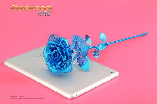 Piececool 3D Metal Puzzle Romantic Rose Assembly Model Kit Gift DIY 3D Laser Cut Toy Blue P099-B