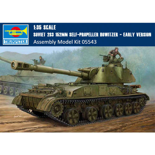 Trumpeter 05543 1/35 Scale Soviet 2S3 152mm Self-Propeller Howitzer Early Version Assembly Model Kit