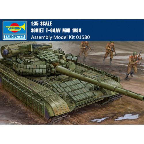 Trumpeter 01580 1/35 Scale Soviet T-64AV MOD 1984 Military Plastic Tank Assembly Model Building Kits