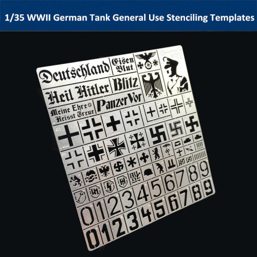 1/35 Scale WWII German Tank General Use Stenciling Template Model Painting Tools AJ0003
