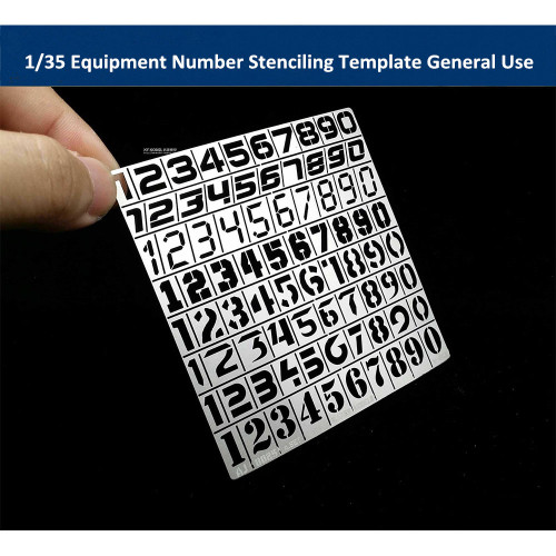 1/35 Scale Equipment Number Stenciling Template General Use Model Painting Tool AJ0025