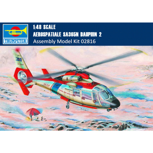 Trumpeter 02816 1/48 Scale Aerospatiale SA365N Dauphin 2 Helicopter Plastic Aircraft Assembly Model Kit