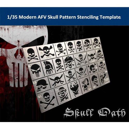 1/35 Scale Modern AFV Skull Pattern Stenciling Template Model Building Tool AJ0040
