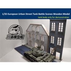 1/35 Scale European Urban Street Scene Diorama DIY Wooden Assembly Model Kit TMW00009