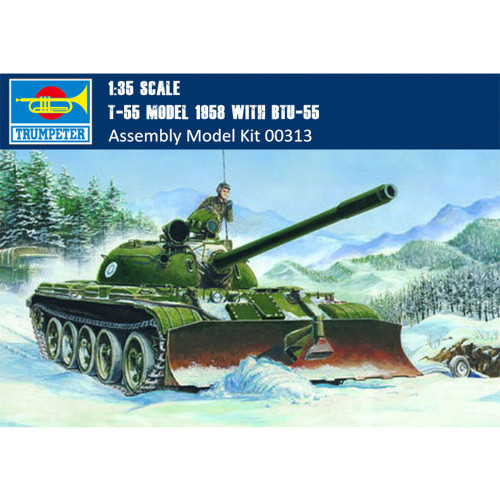 Trumpeter 00313 1/35 Scale T-55 Model 1958 with BTU-55 Military Plastic Assembly Tank Model Kit