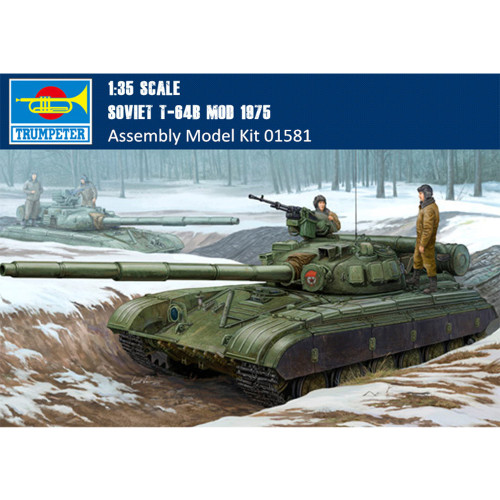 Trumpeter 01581 1/35 Scale Soviet T-64B MOD 1975 Military Plastic Tank Assembly Model Building Kits