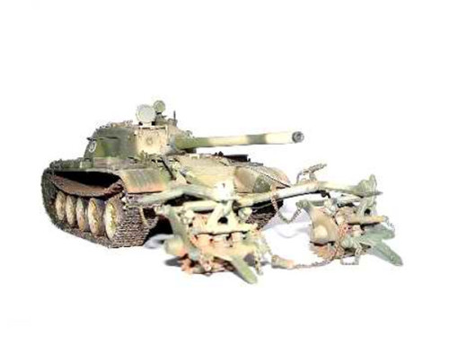 Trumpeter 00341 1/35 Scale Finnish Army T-55 with KMT-5 Military Plastic Assembly Tank Model Kits