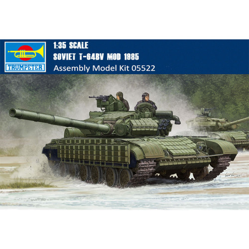 Trumpeter 05522 1/35 Scale Soviet T-64BV MOD 1985 Military Plastic Tank Assembly Model Building Kits