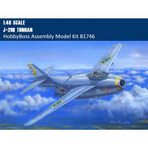HobbyBoss 81746 1/48 Scale Swedish J-29B Tunnan Fighter Military Plastic Aircraft Assembly Model Kit