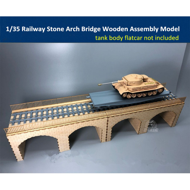 1/35 Scale Railway Stone Arch Bridge Diorama Wooden Assembly Model Kit