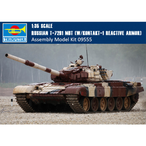 Trumpeter 09555 1/35 Scale Russian T-72B1 MBT (w/kontakt-1 reactive armor) Military Plastic Assembly Model Kits