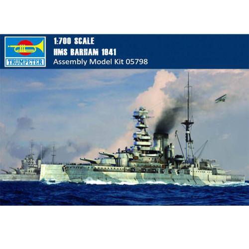 Trumpeter 05798 1/700 Scale HMS Barham 1941 Battleship Military Plastic Assembly Model Building Kits